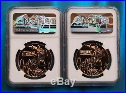 Shanghai Mint1984 China gilt-brass Pagoda Medal set. NGC PF69&PF683. China coin