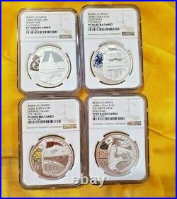 Silver Coin 2008 Beijing Olympics Colorized Set Of 4 Ngc Proof Ultra Cameo