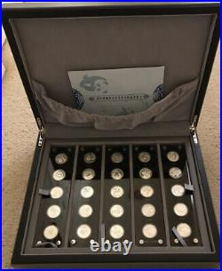 Silver Panda Set 25 Uncirculated Pure Silver Coins In Beautiful Display