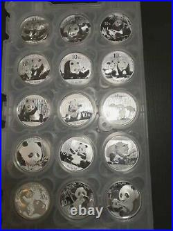 Silver Panda Set of 15 Coins In Pad Year 2007-2021 Lot 15 (15 oz)