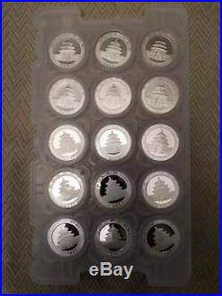 Silver Panda Set of 15 Coins Year 2003-2017 in Origin Capsules in the Pad