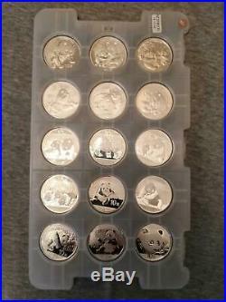 Silver Panda Set of 15 Coins Year 2004-2018 in Origin Capsules in the Pad