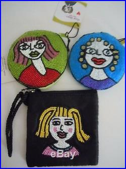 Super Rare! Stunning Set Of 3 Elissa Bloom Beads Sequins Arts Coin Purses, Bags