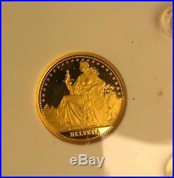 Swiss 1986 Proof Gold four coin set, 1.85 Oz. 999 Au
