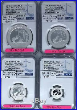 TOP PF70 MUNICH PANDA SET! 1oz 1/2oz 1/4oz 1/10oz Intl Coin Show NGC