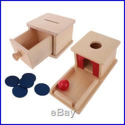 Wood Coin Piggy Bank Ball Matching Box Set Kids Montessori Educational Toys