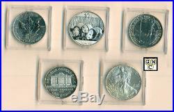 World 1oz. Silver 5 coins set- US, China, Austria, Gr. Bt, Canada in RCM BOX (OOAK)